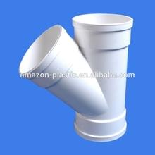355mm flexible upvc large diameter plastic water drain pipe y fitting