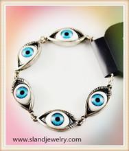 Wholesale antique silver charm fashion greek evil eye bracelet