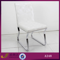 moderno a248f blanco de cuero sillas de comedor de tubo de hierro