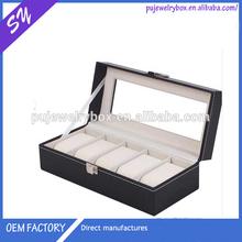 Beautiful Watch box, glass top 5 slots black leather watch box