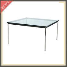 modern metal frame round glass solid oak dining table set