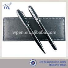 Fancy High End Black Leather Bag Business Metal Roller Pen