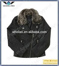 Cool kids faux fur neck leather biker jacket motorcycle leather jacket