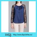 china venda quente real azul elegante laço manga mulheres blusa de seda