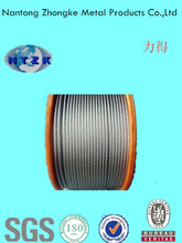 Motorcycle part of 6*12+7FC electro galvanized steel rope made in China