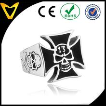 Hot Selling in Alibaba Black Stainless Steel Iron Cross Skull Ring
