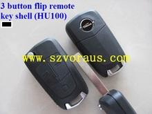 Opel 3 button flip remote key shell (HU100)&Opel flip key cover&auto flip key