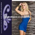 ml17703 2014 atacado royal blue curto vestido sexy clube desgaste padrão em um vestido de ombro