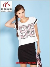 China supply t shirt number printing for lady's