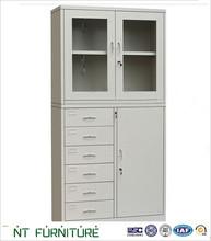 High End Office Furniture Manufacturer 3-Drawer Polished Steel Filing Cabinet