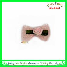 Mini cute pink ribbon rose flower for hair fascinators