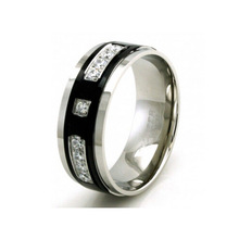 Black Stainless Steel CZ Channel and Crown Polished Ring