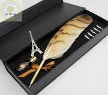 Logo Printed Quill Feather Pens/Colorful Feather Fountain Pen Gift Set