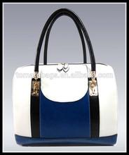 Large Tote Gold hardware Shoulder Pu Leather Shoulder bag white +blue