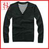 stripes long sleeves cardigan sweater man sweater v neck