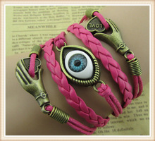 2014 Wholesale brown love charm fashion alloy evil eye knitted bracelet