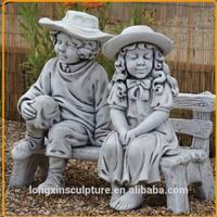 Life Size Boy and Girl Resin Sculpture Resin Children Garden Statues