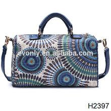 H2397 High imitation design denim women floral handbag+messenger bag + Genuine leather New product