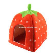 2015 New Arrival Foldable Strawberry Shape Sponge Cut Dog Cat pet Tent Bed