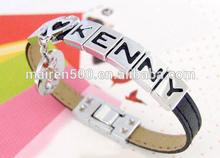 DIY name PU leather bracelet for man men