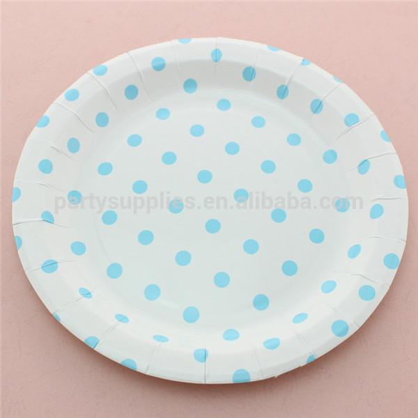 9 polegadas rodada pratos de papel com pontos azuis