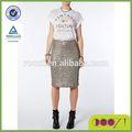 2014 nova moda lola skye gunmetal sequin lápis skirtlatest moda saias