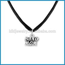 fashion flock leather band mom pendant necklace