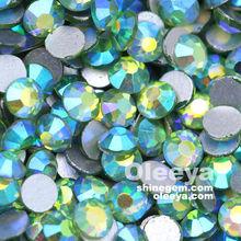 Wholesale! Fashion Design Round Peridot AB Glass Non Hot Fix Flat Back Crystal Diamonds Rhinestones for Clothing Hat