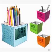 factory custom calendar pen holder with clock