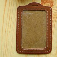 uta5503 genuine leather staff working square business card holder case badge holder