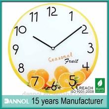 """13 """" decortive relógio de parede de vidro horloge murale frutas / relógio de parede de vidro"""