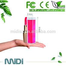 2600mah legoo lipstick power bank for mobile phone, mobile charger