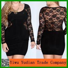 Night Club Sexy Fat Women Long Sleeve Black Lace Plus Size Dress