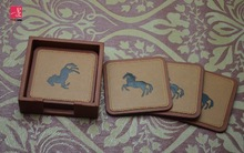 Brown PU custom leather coasters with holder for promotion