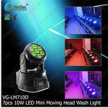 VanGaa mini 7pcs 10w dolorful led moving head stage light mixer