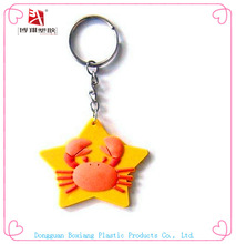 hot sea animal crab rubber keychain/pvc keychain for halloween gift