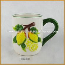 wholesale ceramic coffee set dolomite bulk coffee mugs lemon pattern