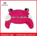 los niños de punto sombrero de diseño de los animales rana material de lana de gorro
