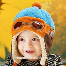 nuovo stile baby 2014 tappo buona qualità aviatore tappo di spessore tessuto polare del panno morbido del bambino migliori pilota cap per la collezione invernale