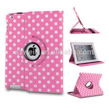 Rotating PU Leather polka Dot Folding Folio Case Cover For iPad Mini