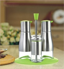 4 piece set Glass and stainless steel oil and vinegar bottle and cruet set