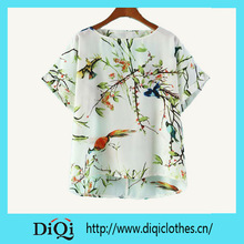 Wholesale White Cut Out Back Bird with Tree Print Blouse In Short Sleeve