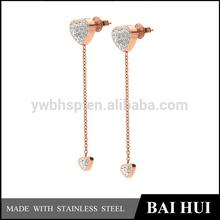 Custom & Wholesale Stainless Steel Rose gold Polished Women's Fancy Heart Design Dangle Earring
