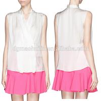 2015 spring silk satin fancy clothing wholesale ladies uniform blouses