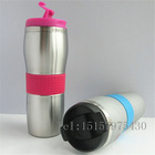 450ml stainless steel beer travel mug screw lid and silicone