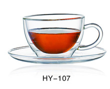 borosilicate double wall glass tea & coffee cup/pyrex transparent glass coffee cup