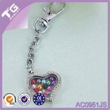 Women's Glass stainless steel or alloy key chain locket pendant