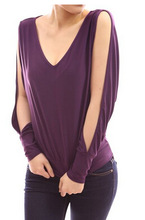 Patty Boutique Stylish V Neck Cold Shoulder top, Cut Out Long Sleeve Slit Party Knit Off Should Top