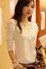 Women's lace o-neck long sleeve t-shirt cotton, plain long length t-shirts, fashion women online t-shirt