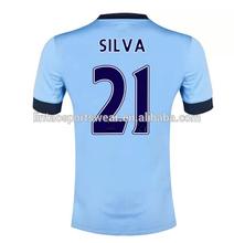 Manchester 2014/2015 season #21 SILVA Thailand quality jersey original grade shirt Home Man city soccer uniform